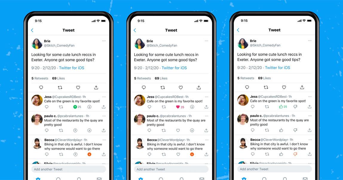 Twitter начал тестировать реакции «за» и «против», которые можно ставить к твитам других пользователей